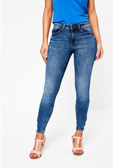 Lauren Regular Ankle Zip Jeans in Medium Blue Denim