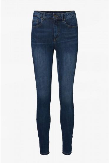 Sophia Petite High Rise Skinny Jeans in Medium Blue Denim