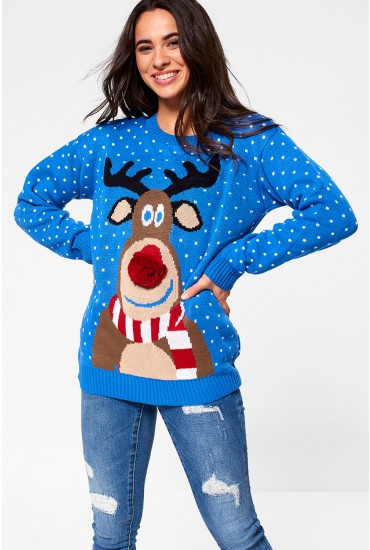 Reindeer Knitted Jumper in Blue