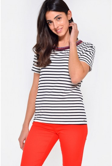 Rine Beaded Neck Striped Tee in Navy