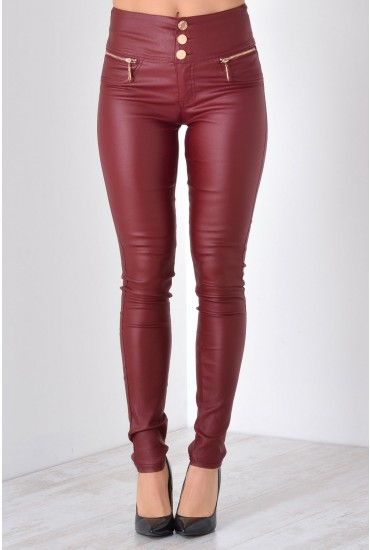 Paris High Waisted Wax Look Trousers in Wine