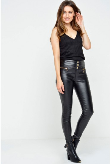 Florence High Waisted Wax Look Trousers in Black Glitter