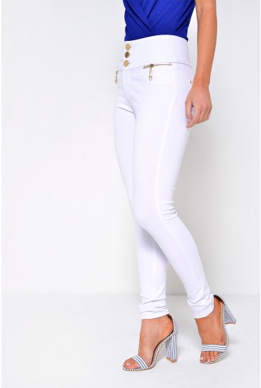 Celine 3-Button Jeggings in White
