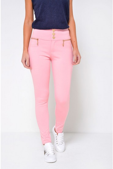 Celine 3-Button Jeggings in Baby Pink