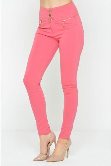 Celine 3-Button Jeggings in Pink