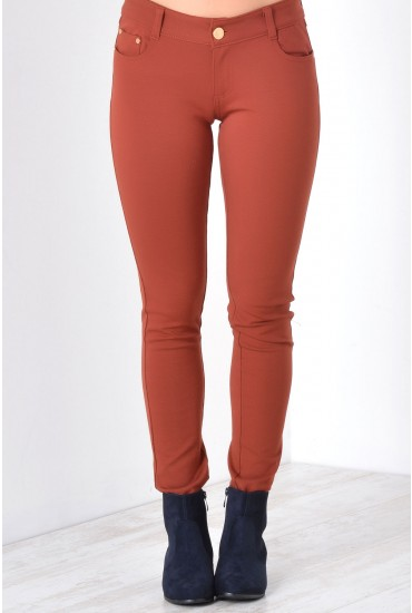 Claire Colour Jeggings in Rust