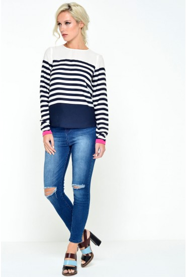 Cathy Ripped Knee Cropped Jeans