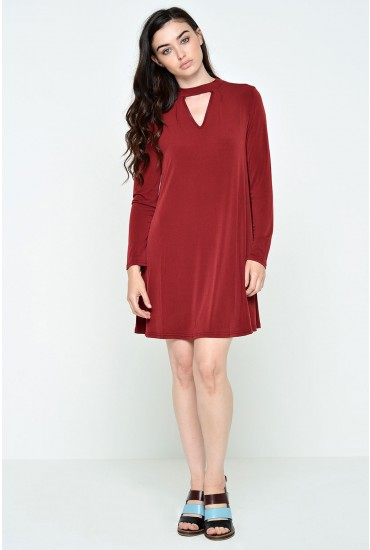 Polly Cut Neck Jersey Tunic in Burgundy