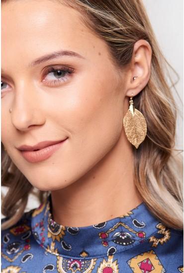 Maria Leaf Drop Earrings in Gold