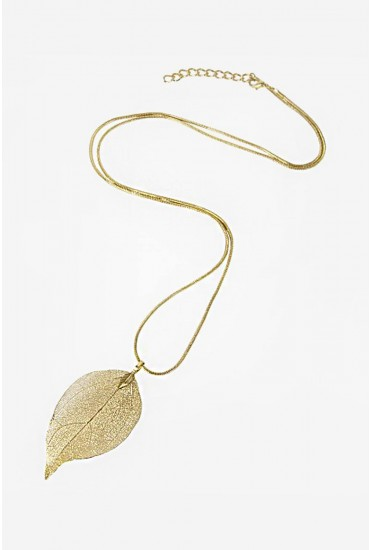 Maria Long Leaf Necklace in Gold