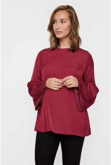 Rosalie Maternity Woven Top in Plum