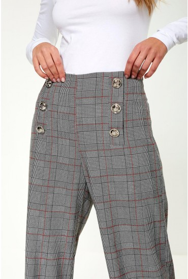 Tathiana Trousers with Button Detail in Grey Check Print