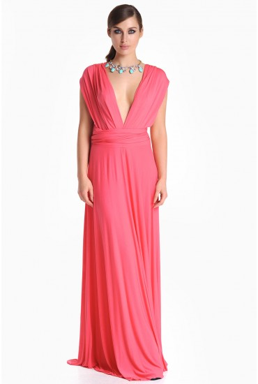 Blair Multi Way Maxi Dress in Coral