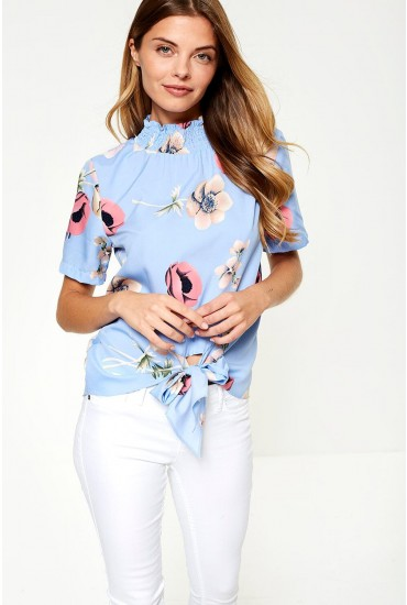 Ruby Front Tie Top in Blue