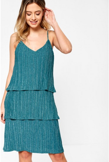 Glitto Ruffle Layer Lurex Cami Dress in Teal