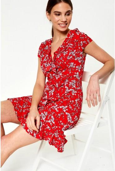 July Ruffle Wrap Dress in Red