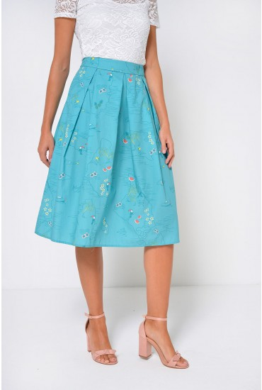 Payton Printed Midi Skirt in Green