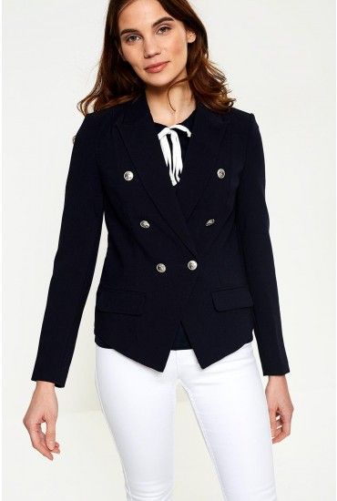 Sail Long Sleeve Blazer in Navy