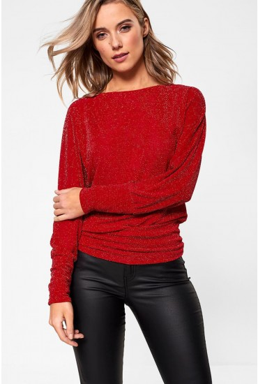 Sally Lurex Sparkle Top in Red