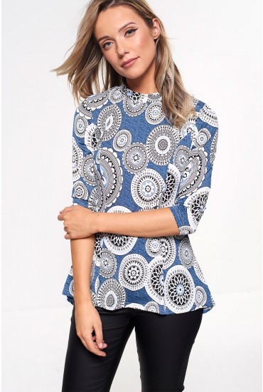 Sally Printed Fit and Flare Top in Blue