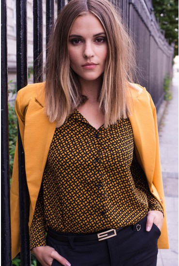 Sally Retro Print Shirt in Mustard
