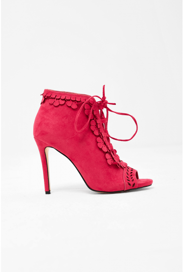 Kate Lace Up Booties in Pink Suede
