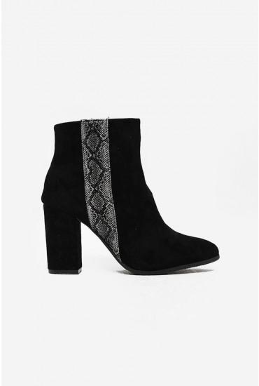 Sarah Snake Trim Ankle Boot in Black Suede