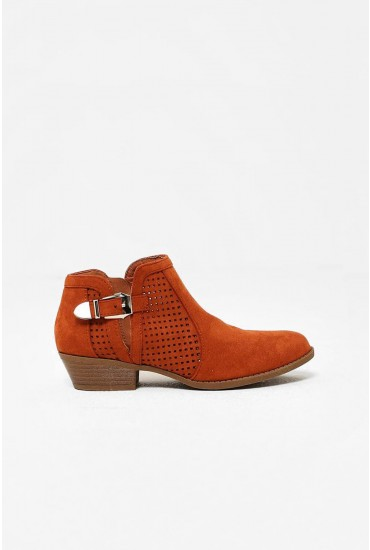 Tate Perforated Ankle Boots in Orange Suede