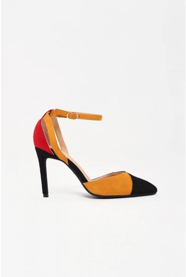 Macie Ankle Strap Court Heels in Red