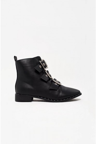 Tali Biker Boots with Buckle Detail in Black