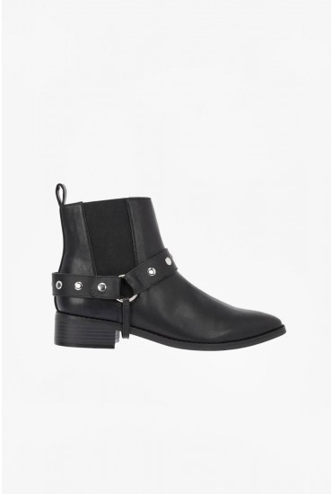Sarah Stud Ankle Boots in Black