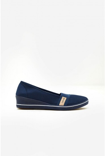 Polly Wedge Slip On Shoes in Navy