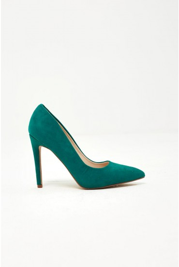 Lucille Court Shoe in Green Suede