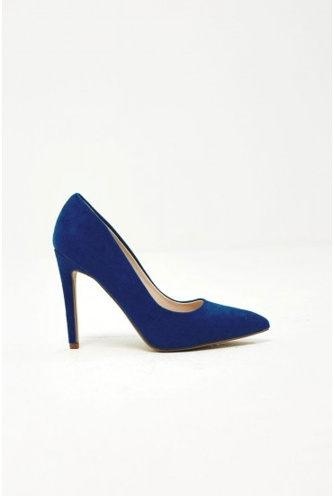 Lottie Court Shoe in Blue Suede