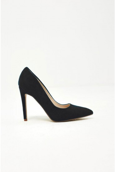 Lottie Court Shoe in Black Suede