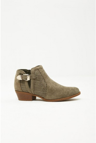 Tate Perforated Ankle Boots in Green Suede