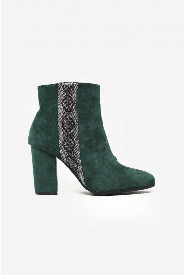 Sarah Snake Trim Ankle Boot in Green Suede