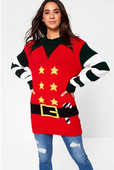 Santa Christmas Jumper in Red