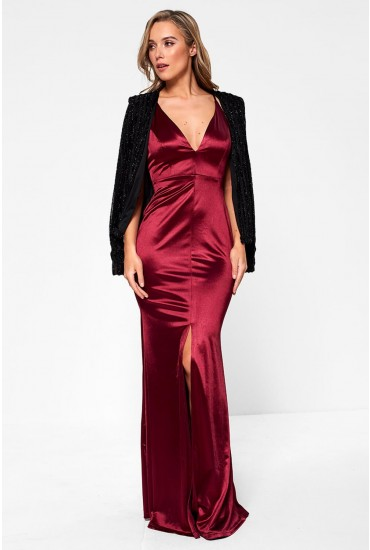 Faith Satin Occasion Maxi Dress in Burgundy