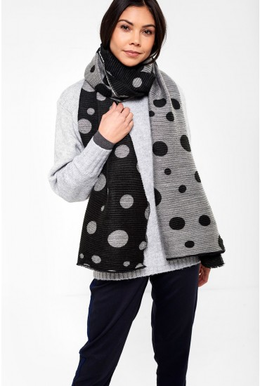 Rafika Long Scarf in Black and Grey