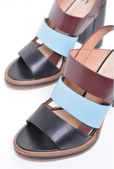 Nina Tricolour Block heel Sandals