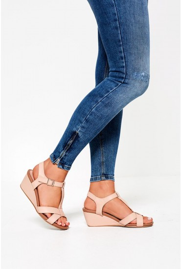 Pollyana Wedges in Blush
