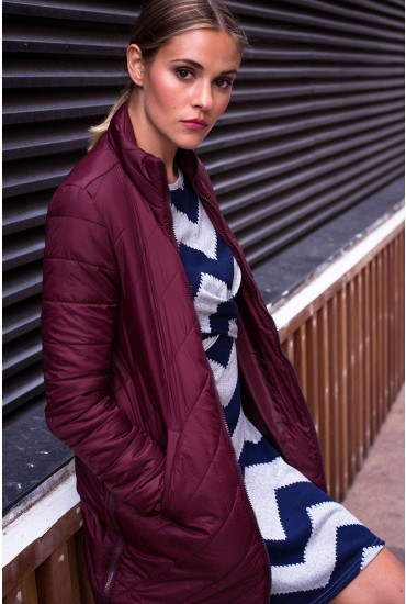 Selma Quilted Long Jacket in Wine