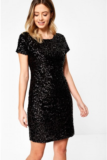 Louisa Sequin Bodycon Dress in Black