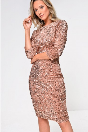 Patsy Sequin Bodycon Dress with Open Back in Gold Sequin