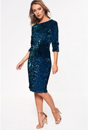 Patsy Sequin Bodycon Dress with Open Back in Teal