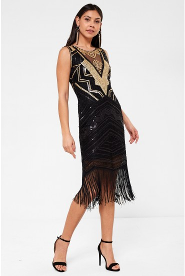 Sophia Sequin Dress with Tassle Hem in Black