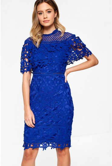 Tina Shawl Sleeve Crochet Dress in Blue