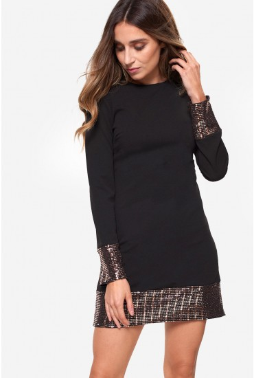 Tina Shift Dress with Sequin Detail in Black