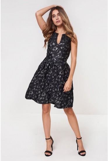 Losha Shimmer Jacquard Dress in Black